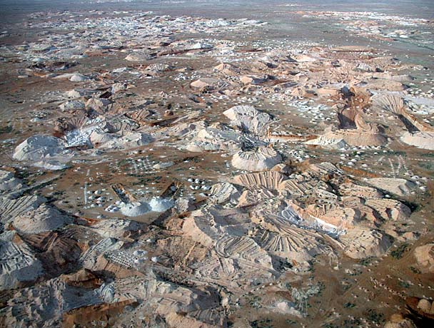 Birds eye view of the Coober Pedy Opalfields.  I think this may be 17 Mile Field, but it's just a guess.