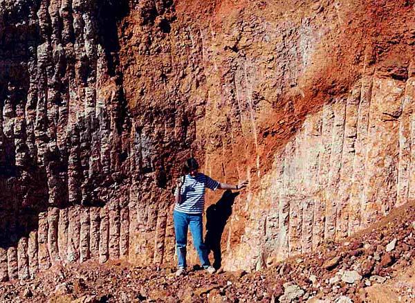 Darlene standing in the location where John Dunston had recently removed a $500,000 opal deposit in Lambina opalfield.