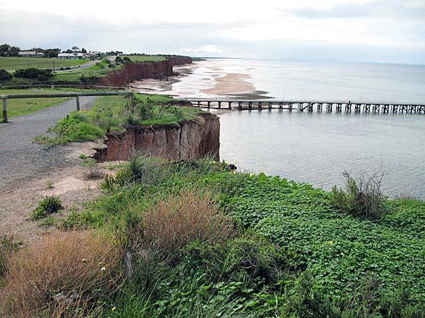 Low tide below the cliff shoreline of Port Vincent...an active copper mining town.