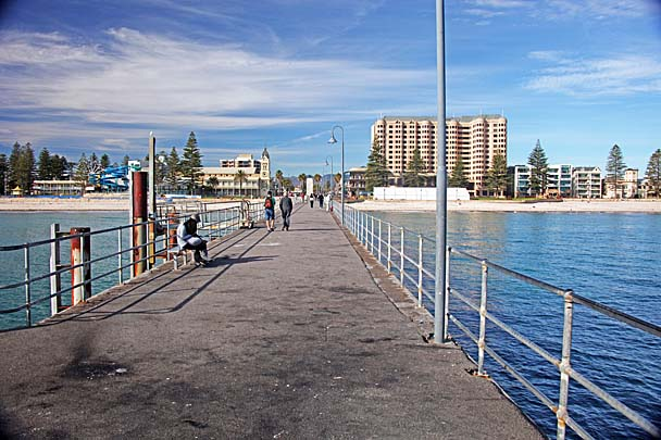 Looking back from the end of the pier to Jetty Rd in Glenelg.