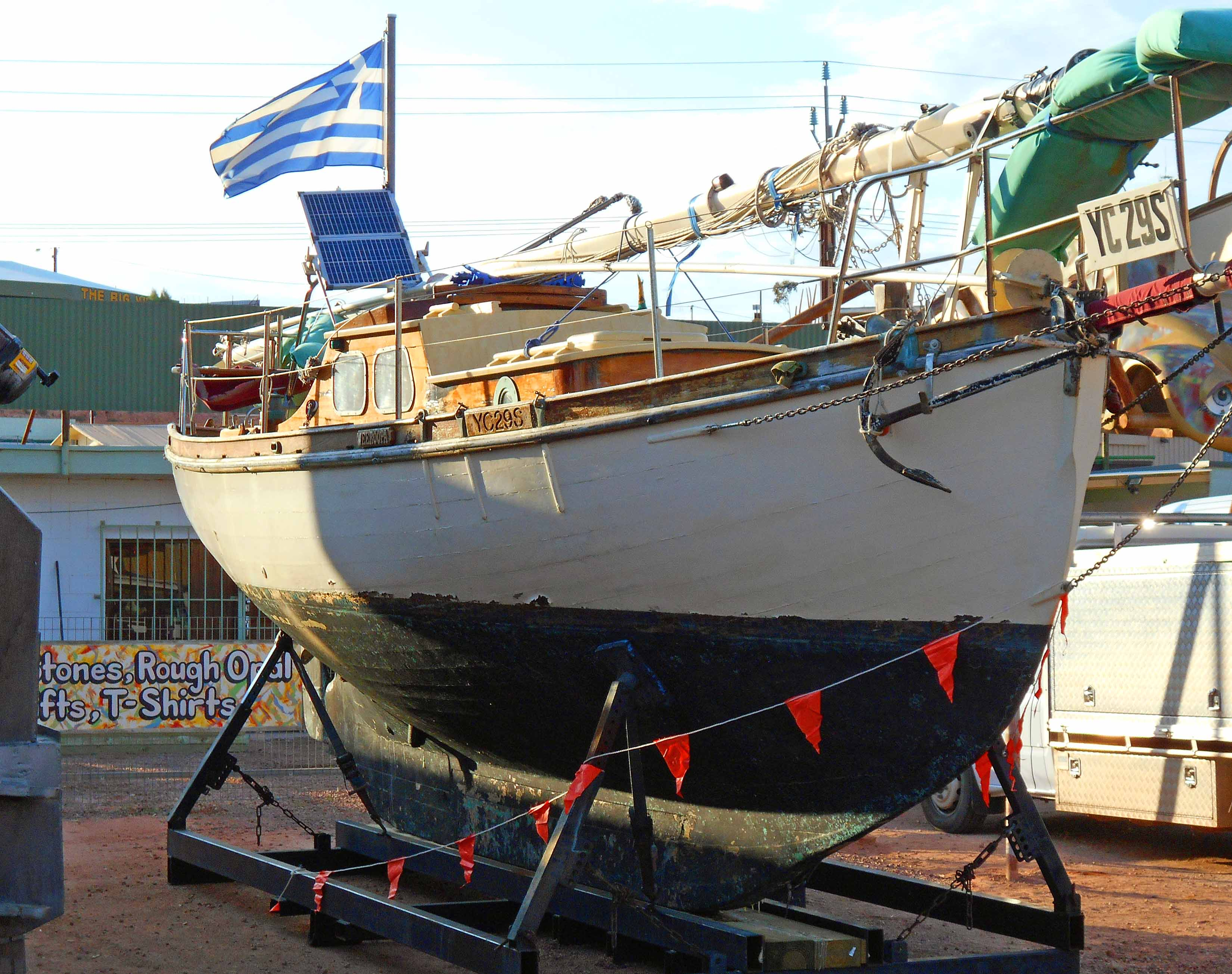 Not often seen in Coober Pedy...a boat flying a Greek flag.  It's a long cruise to Greece from CP.  Well...there are a lot of Greeks in the small outback town.  Guess they are set for global warming.