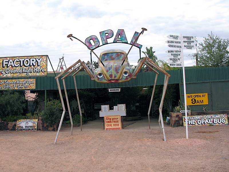 """The Opal Factory...one of the many opal shops in Coober Pedy.  I like the VW """"bug""""."""