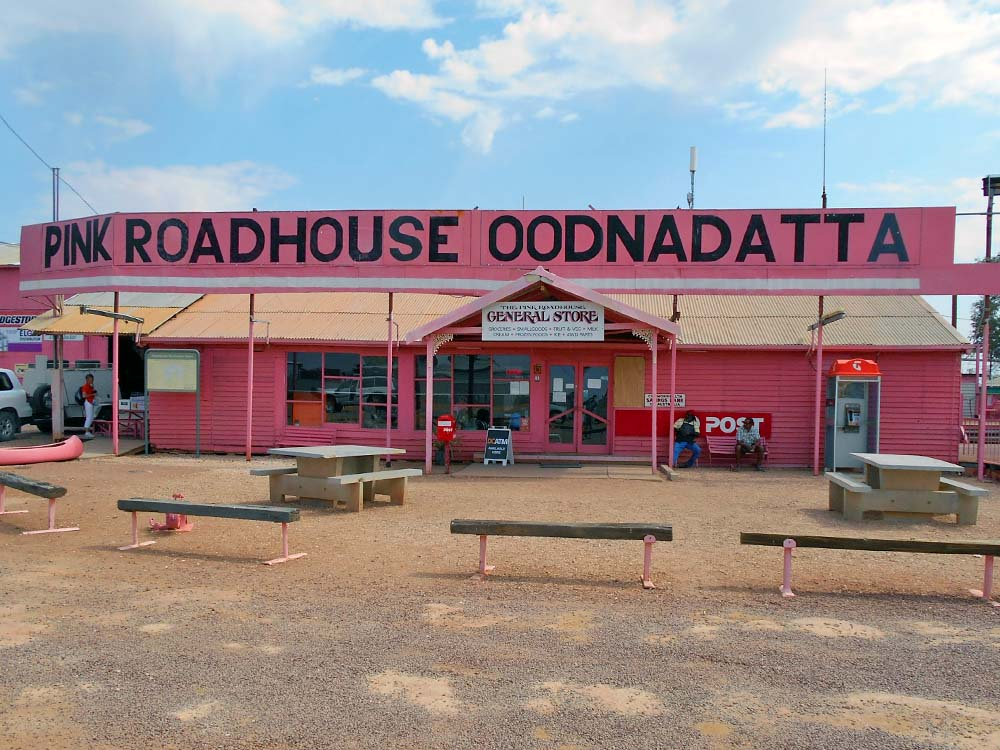 Pink Roadhouse in Oodnadatta where we stopped for lunch.  I had a burger with the lot (includes fried egg and pickled beet) with chips (french fries in Oz) on the Mail Run Tour...fascinating trip!  The beet added to the burger wasn't bad.