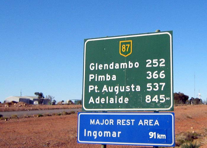 Mileage sign seen as we were driving south out of Coober Pedy, heading for the southern tip of the Fleurieu Peninsula and Kangaroo mIsland.