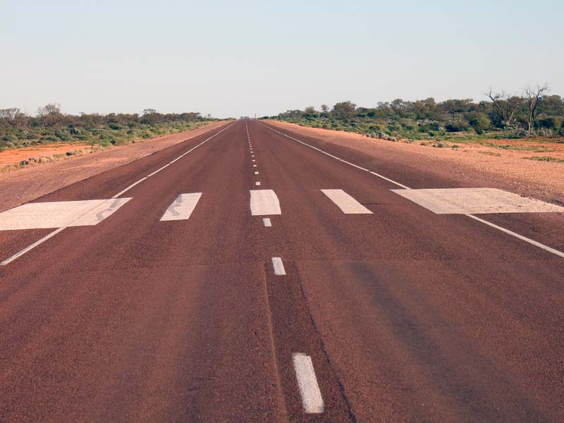 A designated landing strip on the Stuart Highway for small plane emergency use...be sure to look up.